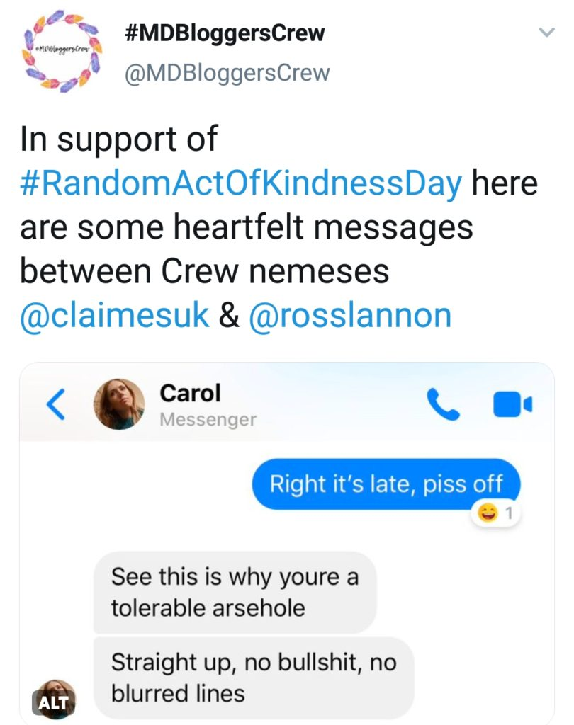Screenshot from @MDBloggersCrew Twitter feed, from Random Acts of Kindness Day.