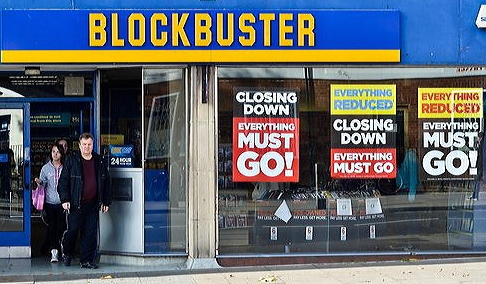 "Image Description: Blockbuster video store shop front. ""Closing Down"" posters shown in the windows"