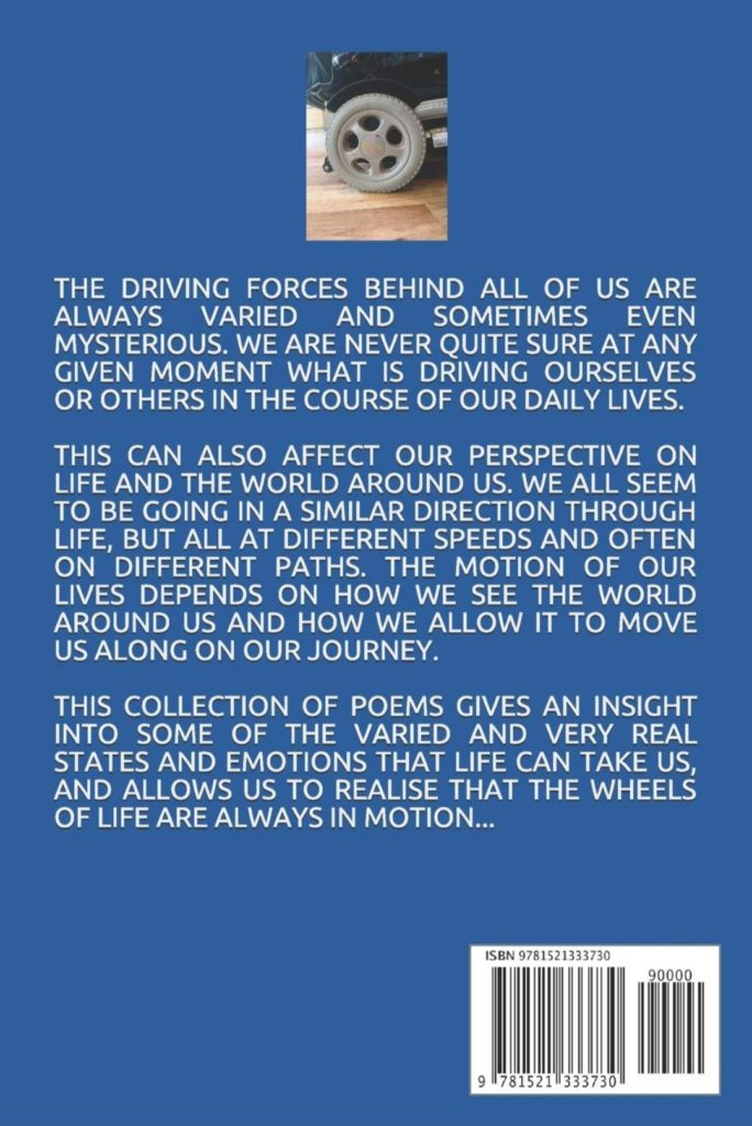 Back cover of 'Wheels of Motion', a poetry anthology by Justin Brown and Lucy Hudson