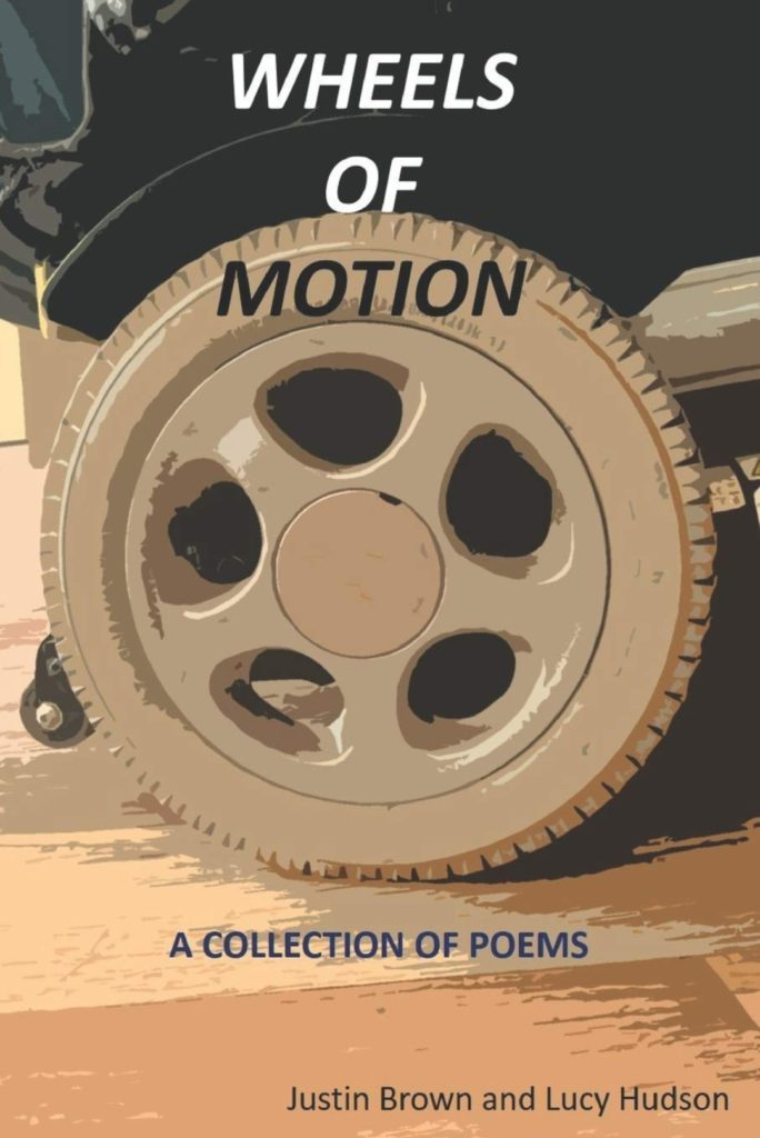 Front cover of 'Wheels of Motion', a poetry anthology by Justin Brown and Lucy Hudson