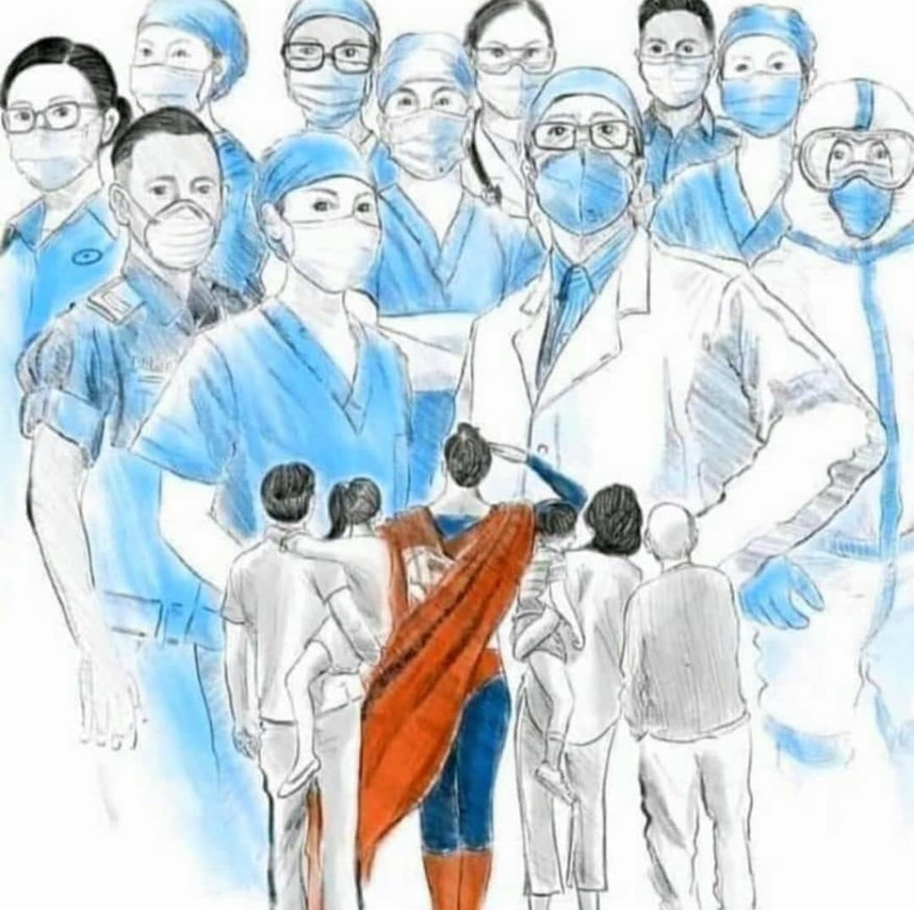 Illustration of NHS healthcare workers being saluted by Superman.