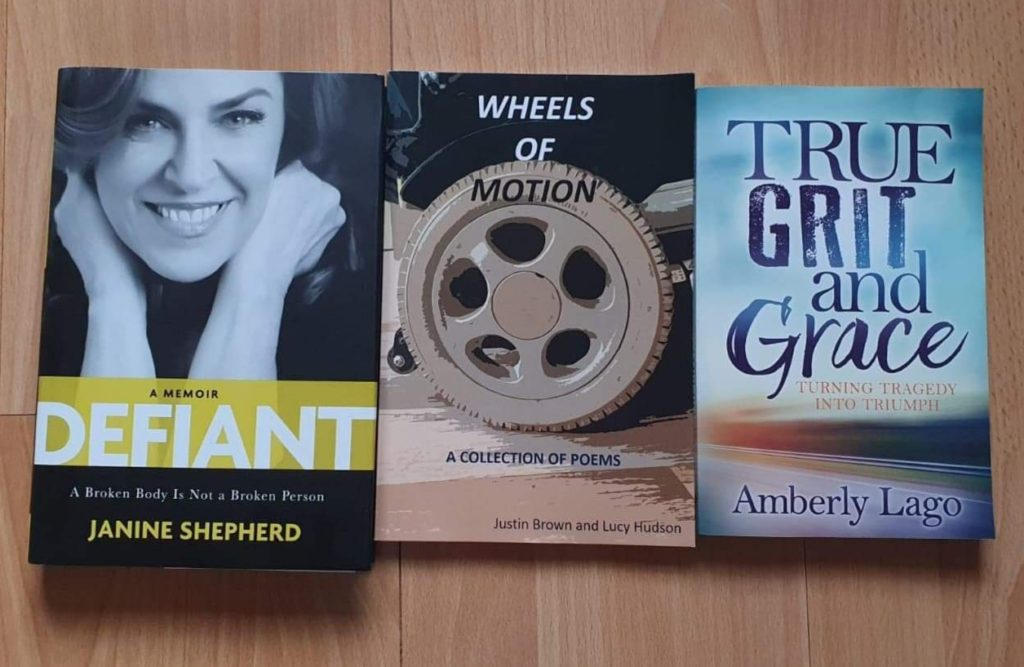 (Left - Right) 'Defiant' by Janine Shepherd, 'Wheels of Motion' by Justin Brown and Lucy Hudson, and 'True Grit and Grace' by Amberly Lago