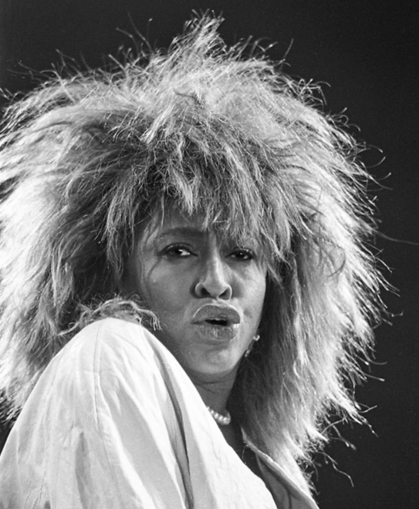 A black and white image of Tina Turner, with big hair